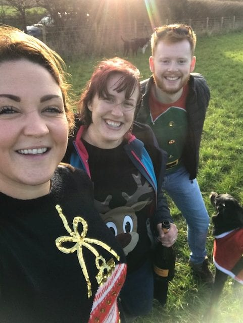 Jack, Jem and Lotty, at a park - dog walkers in Snodland