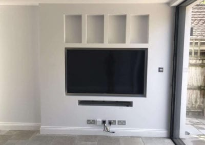 built in TV and sound system